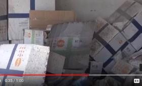 UNFPA's medical material amidst the destruction. المستلزمات الطبية التي قدمها صندوق الأمم المتحدة للسكان وسط الدمار